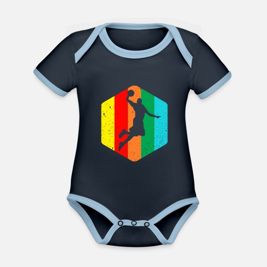 Basket Baby Clothes - basketball - Organic Contrast Baby Bodysuit navy/sky