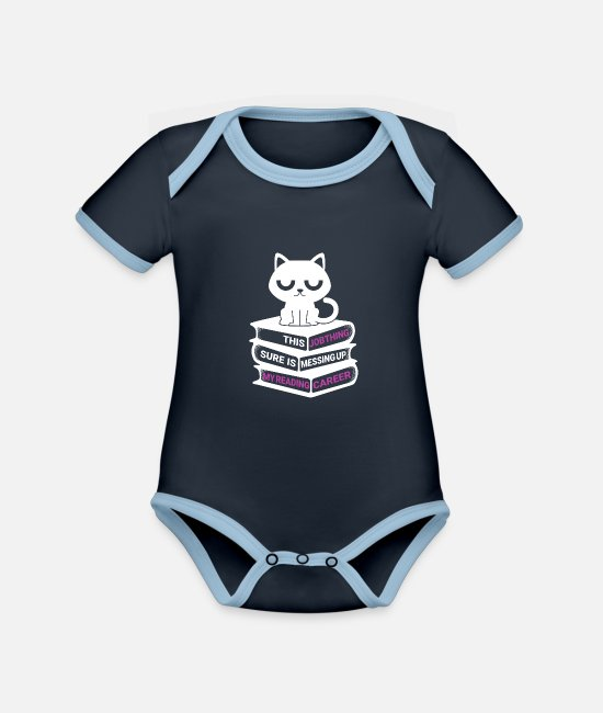 Office Baby Bodysuits - Job Thing Is Messing Up My Reading Career - Organic Contrast Baby Bodysuit navy/sky