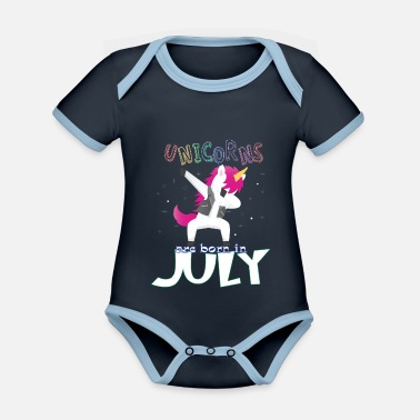 Born In Born Unicorns-Born July - Organic Contrast Baby Bodysuit