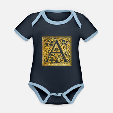 Initial Initials-A - Organic Contrast Baby Bodysuit