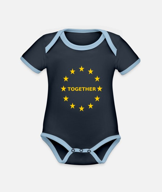 EU Baby Bodysuits - EU Together Europe together - Organic Contrast Baby Bodysuit navy/sky