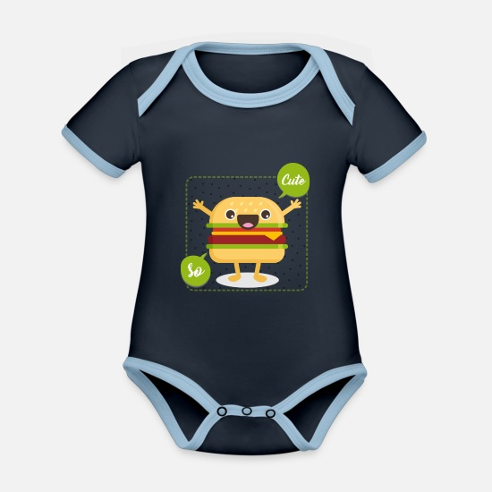 Kawaii Baby Clothes - cute hamburger - Organic Contrast Baby Bodysuit navy/sky