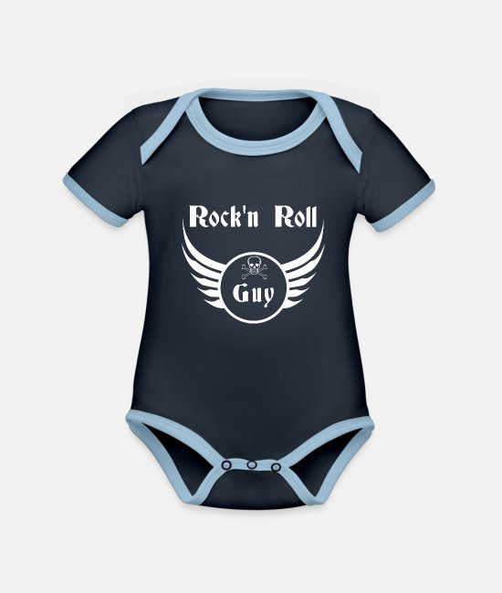 Message Baby Bodysuits - Rock and roll guy - Organic Contrast Baby Bodysuit navy/sky