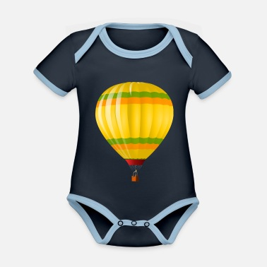 Balloon hot air balloon - Organic Contrast Baby Bodysuit