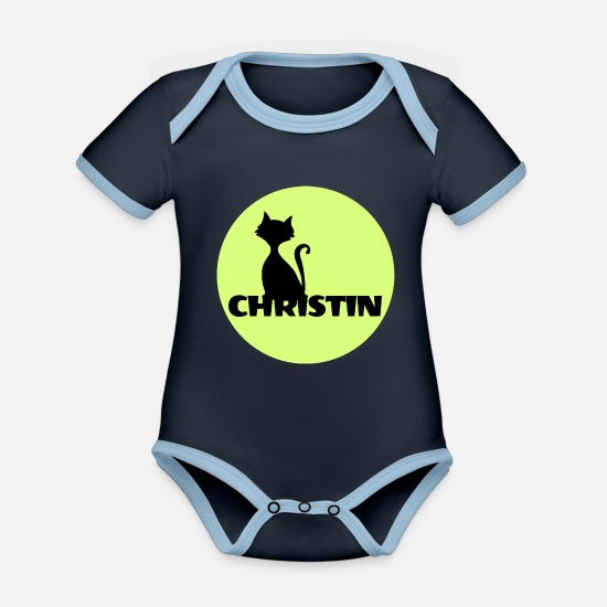Name Badge Baby Clothes - Christian name First name - Organic Contrast Baby Bodysuit navy/sky
