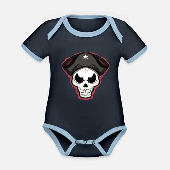 Pirate Baby Clothes - corsair skull - Organic Contrast Baby Bodysuit navy/sky