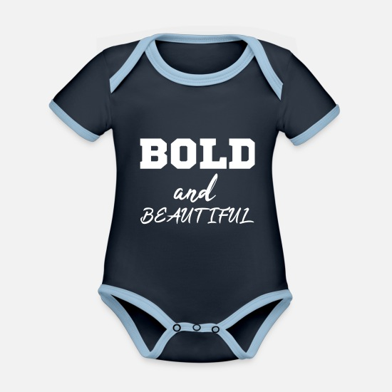 Beautiful Baby Clothes - BOLD and beautiful - Organic Contrast Baby Bodysuit navy/sky