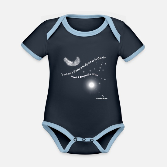 Romantic Baby Clothes - romantic - Organic Contrast Baby Bodysuit navy/sky