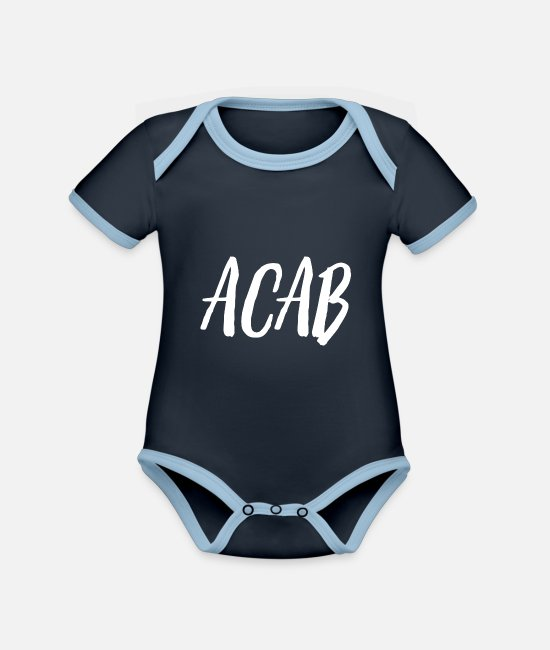 COLLECTION Baby Bodys - ACAB - Baby Bio Kurzarmbody zweifarbig navy/sky