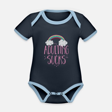 Job Underwear adulting sucks with a rainbow (being an adult) - Organic Contrast Baby Bodysuit