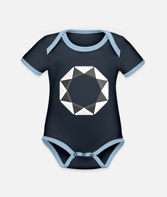 Maths Baby Bodysuits - Triangle pattern plain white black - Organic Contrast Baby Bodysuit navy/sky