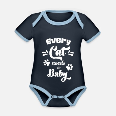 Baby Every cat needs a baby cat romper meow - Organic Contrast Baby Bodysuit