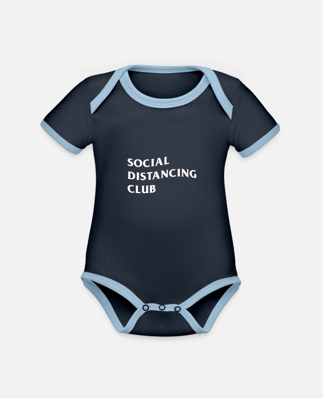 Covid Baby Bodysuits - Social Distancing Club - Organic Contrast Baby Bodysuit navy/sky