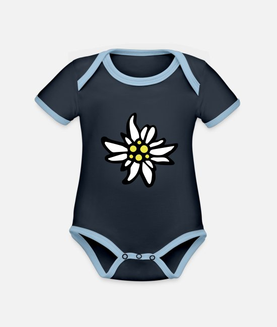 Flowers Baby Clothes - Edelweiss - Organic Contrast Baby Bodysuit navy/sky
