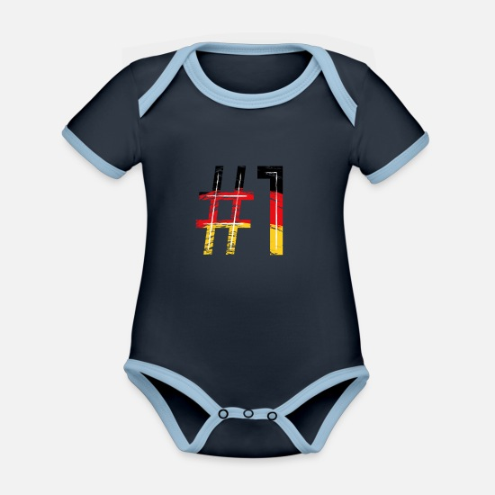 National Team Baby Clothes - #1 - Organic Contrast Baby Bodysuit navy/sky