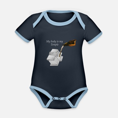Drogen My body is my Temple Beer Edition - Baby Bio Kurzarmbody zweifarbig