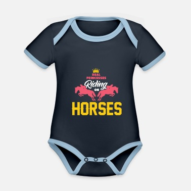 My Daughter Rides Horses Horse riding princess - Organic Contrast Baby Bodysuit