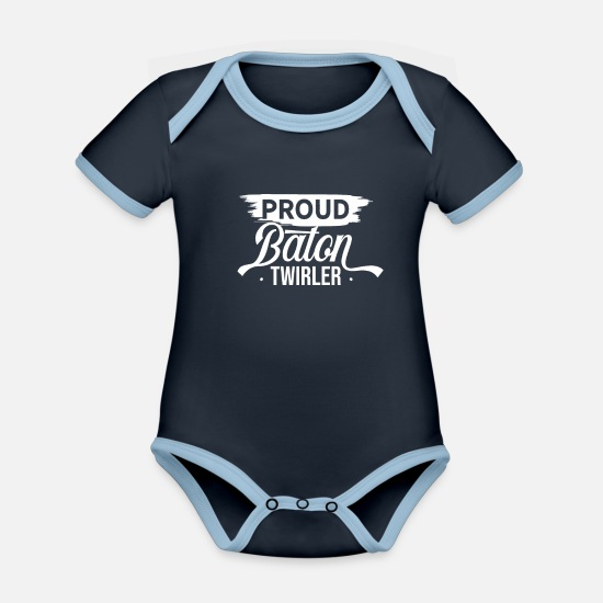 Gymnastic Baby Clothes - bar turning - Organic Contrast Baby Bodysuit navy/sky