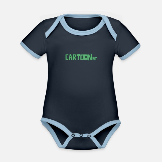 Caricature Baby Clothes - Cartoon Paint Cartoon Comic Artist Comic Comics - Organic Contrast Baby Bodysuit navy/sky