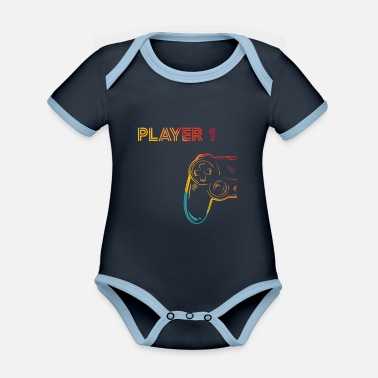 Gaming Player 1 gift - Organic Contrast Baby Bodysuit