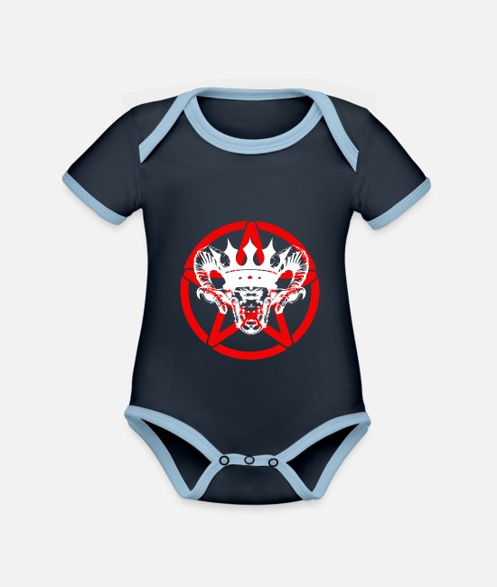 Voodoo Doll Baby Clothes - Goat pentacle Satan devil Satanic - Organic Contrast Baby Bodysuit navy/sky