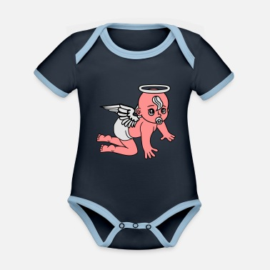 Ángel affectionate angels angel angels angels angels ang - Organic Contrast Baby Bodysuit