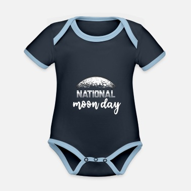 Tag National Moon Day gift for astronaut friends - Organic Contrast Baby Bodysuit