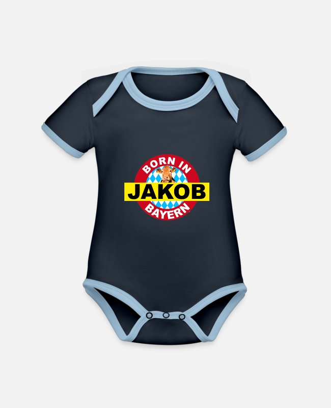 Grandpa Baby Bodysuits - Born in Bavaria, Jakob, Jacky, first names, name day - Organic Contrast Baby Bodysuit navy/sky