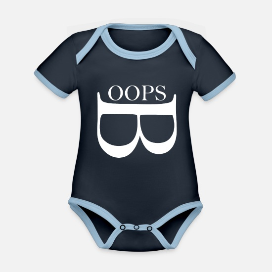 Oops Baby Clothes - Oops wite - Organic Contrast Baby Bodysuit navy/sky