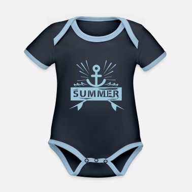 Summer Anchor - Organic Contrast Baby Bodysuit