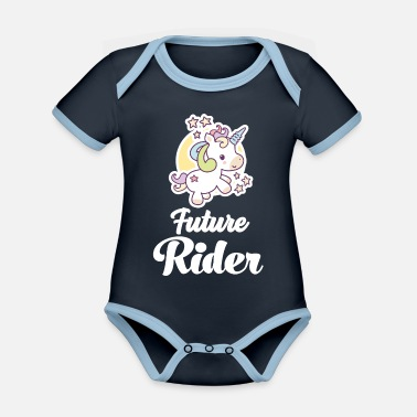 Ride A Horse Young rider riding horsewoman riding horses - Organic Contrast Baby Bodysuit