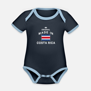 Jose Made in Costa Rica Flagge Fahne - Baby Bio Kurzarmbody zweifarbig
