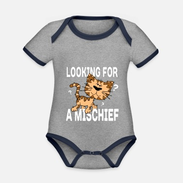 Cartoon cat looking for a mischief - Organic Contrast Baby Bodysuit