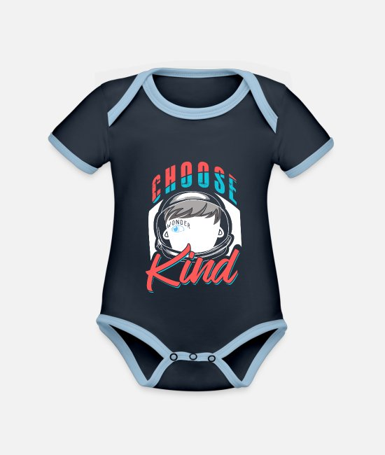 Distressed Baby Clothes - Choose Kind Distressed - Organic Contrast Baby Bodysuit navy/sky