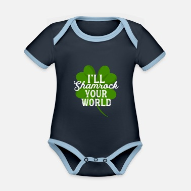 St I'll Shamrock Your World Funny St Patricks Day Pun - Organic Contrast Baby Bodysuit