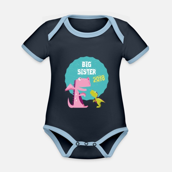 Jul Babyklær - Big Sister Søsken Brother 2018 T-skjorte - Kontrast babybody navy/sky