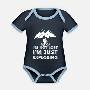 Mountain Mountains - mountain biking - mountain biking - cycling - Organic Contrast Baby Bodysuit