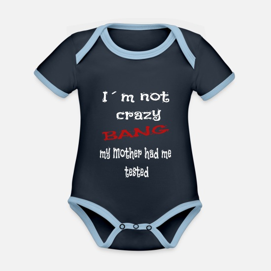 Bang Baby Clothes - Bang Theory funny saying gift - Organic Contrast Baby Bodysuit navy/sky