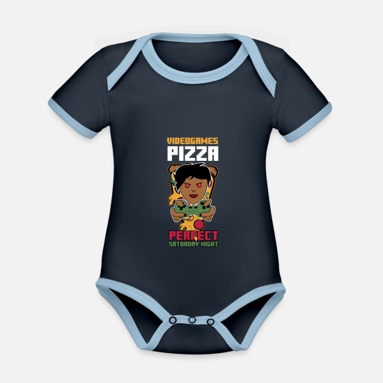 Pizza Baby Clothes - Video Games Pizza - Organic Contrast Baby Bodysuit navy/sky