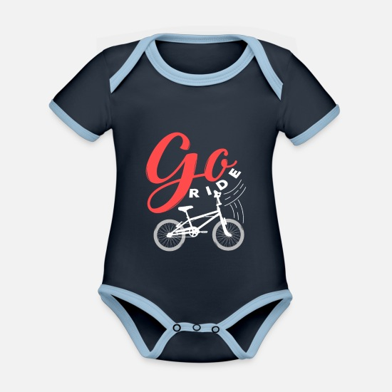 Birthday Baby Clothes - Bicycle gift hobby sport women's bike - Organic Contrast Baby Bodysuit navy/sky
