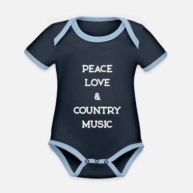 Countrymusic PEACE LOVE COUNTRYMUSIC - Organic Contrast Baby Bodysuit