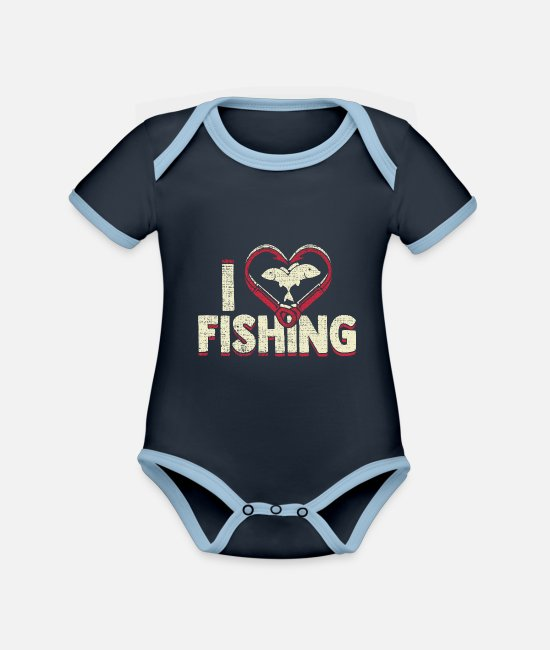 Birthday Baby Clothes - I love fishing gift idea father - Organic Contrast Baby Bodysuit navy/sky