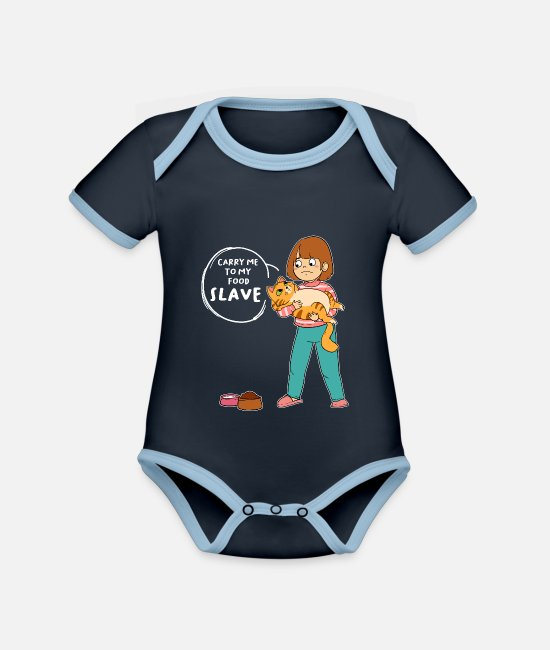 Cat Lady Baby Bodysuits - Slave food feed cat feeding - Organic Contrast Baby Bodysuit navy/sky