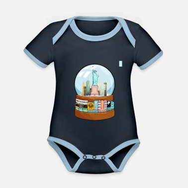 Charade New York Broadway Snow Globe Funny Gift - Organic Contrast Baby Bodysuit