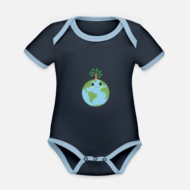 Grüner Planet - Happy Earth - Baby Bio Kurzarmbody zweifarbig