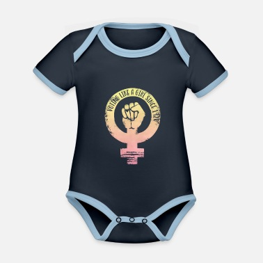 Voting Like A Voting like a girl since 1920 - girl power - Organic Contrast Baby Bodysuit