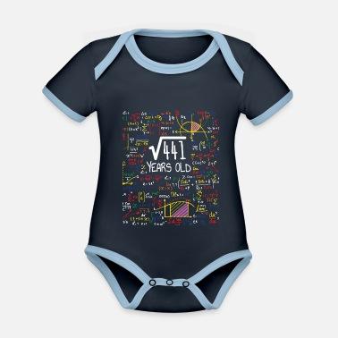 Roots Square Root Of 441 - 21st Birthday Gift - Organic Contrast Baby Bodysuit