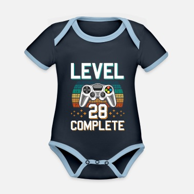 Pc Level 28 Complete 28 Years of Gamer Gamer - Organic Contrast Baby Bodysuit