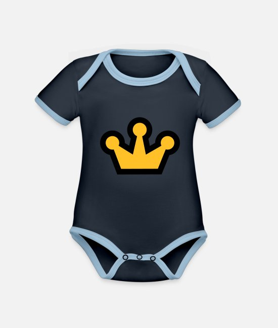 Symbol  Baby Clothes - Royal Crown - Organic Contrast Baby Bodysuit navy/sky