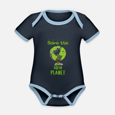 Save Green planet - Save the green planet. - Organic Contrast Baby Bodysuit